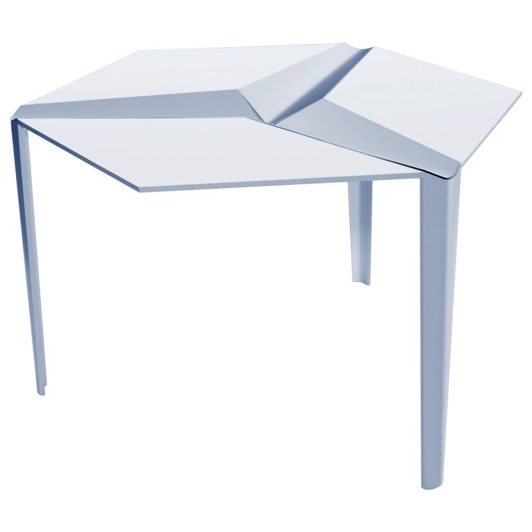 Crystallized Three-Legged Recycled Metal Dining Table, Removable Serving Trays For Sale