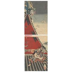 Diptych Yoshitoshi Tsukioka 19th Century Japanese Woodblock Print Ukiyo-E