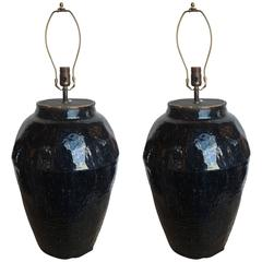 Pair of 19th Century Chinese Glazed Black/Brown Pot Lamps