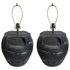 Pair of 19th Century Chinese Ceramic Pot Lamps