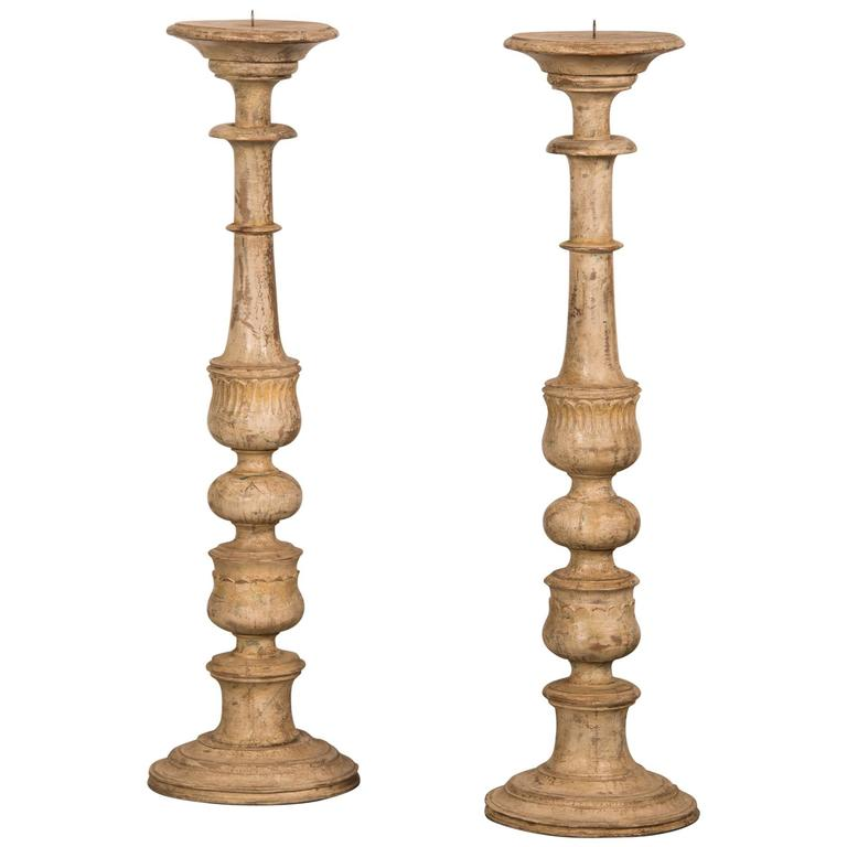 Pair of Vintage Italian Painted Candlesticks