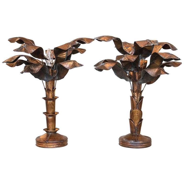 Hollywood Regency 1970s Pair of Palm Tree Brass Table Lamps