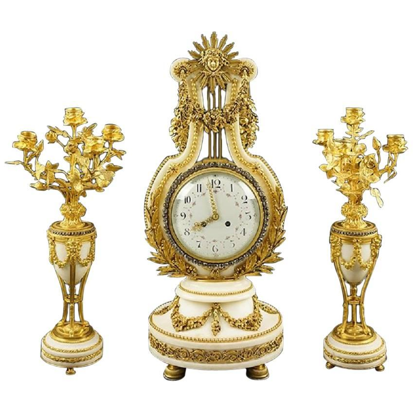 French 19th Century Marble and Bronze Clock Set