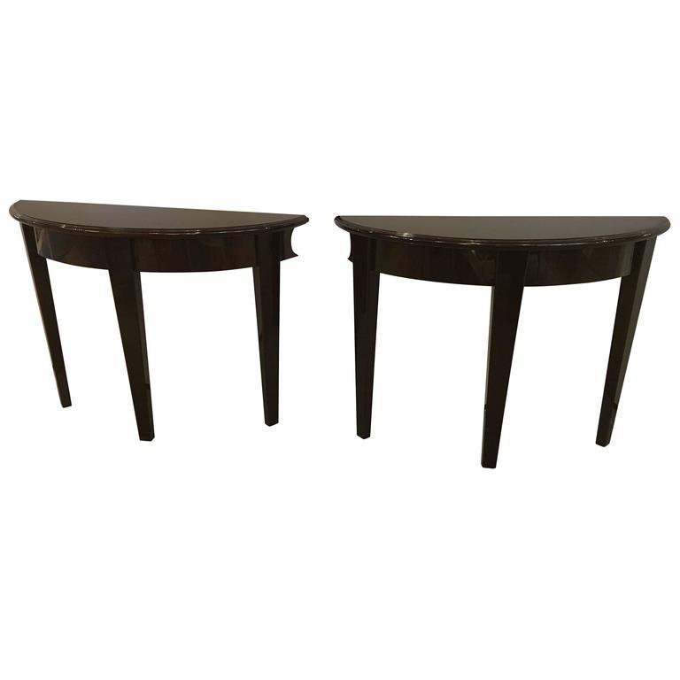 Pair of Hollywood Regency Parzinger Style Ebony Mahogany Demilune Console Table