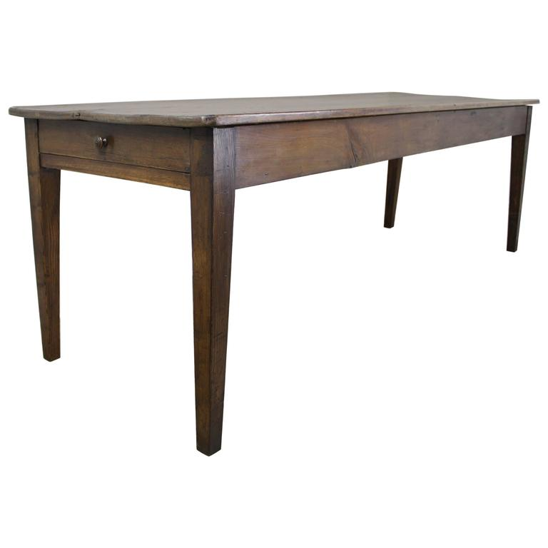 Long Antique Pine Farm Table, One Drawer 1