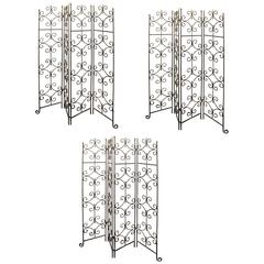 Set of Three Quality Heavy Old Wrought Iron Four Fold Screens