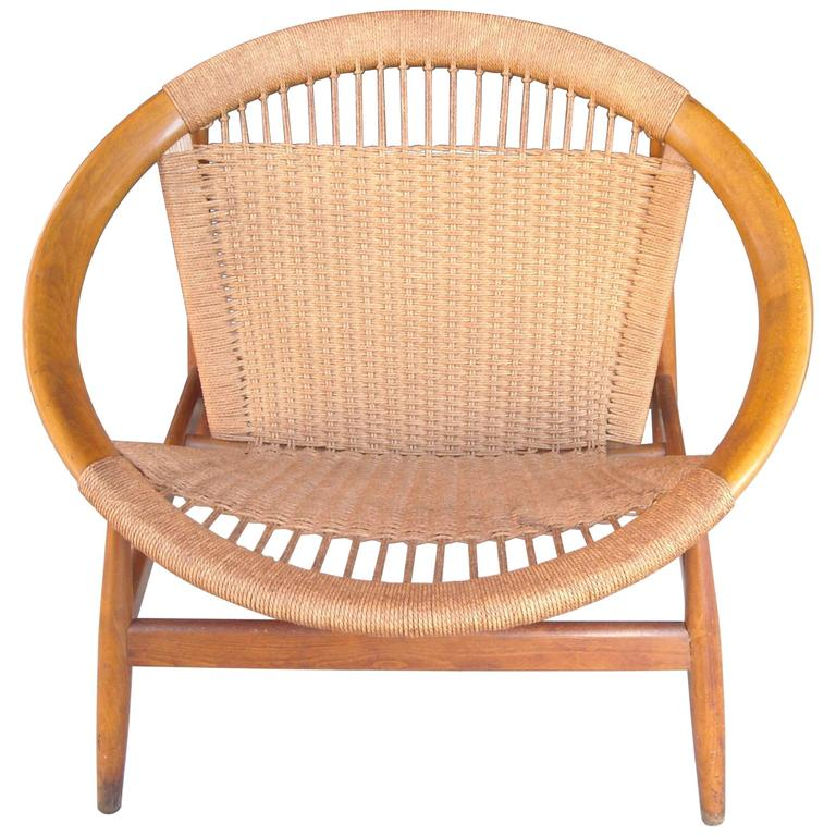 "Illum Wikkelso ""Ringstol"" Ring Chair, Rope, Walnut 1"