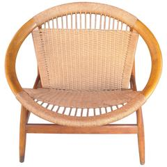 "Illum Wikkelso ""Ringstol"" Ring Chair, Rope, Walnut"