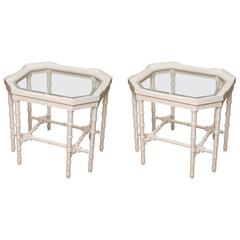 Pair of White Lacquer Faux Bamboo Side Tables