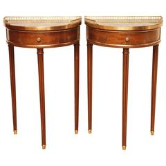 Pair of French Louis XVI Style Marble-Top Demilunes with Gallery