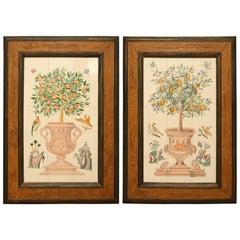 Pair of Vintage Tile Lemon Topiaries