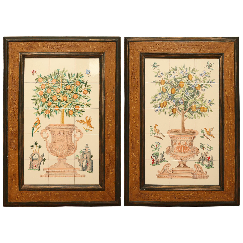 Pair of Vintage Tile Lemon Topiaries For Sale at 1stdibs