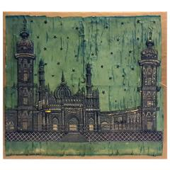 Superb Turkish Silver Embroidered Textile of Islamic Mosque