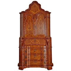 Italian Baroque Style Inlaid Walnut Bureau Secretary