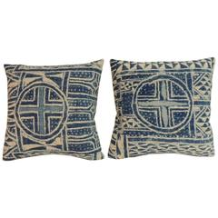 "Pair of 19th Century Blue and White ""Ndop"" Woven Textile Decorative Pillows"