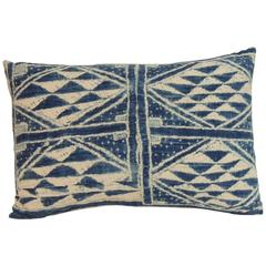 "19th Century Blue and White ""Ndop"" African Woven Decorative Bolster Pillow"
