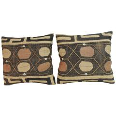 "Pair of Vintage Embroidery African Lumbar Pillows with ""Cowries"" Shells"