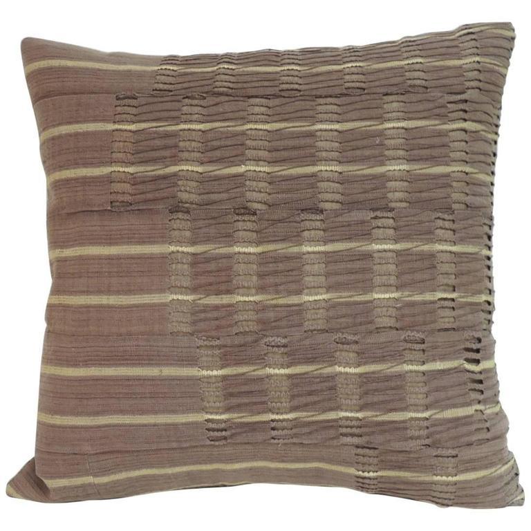 "CLOSE OUT SALE: African Brown ""Yoruba"" Woven Artisanal Textile Decorative Pillow"