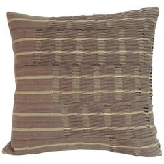 "African Brown ""Yoruba"" Lace Woven Decorative Pillow"