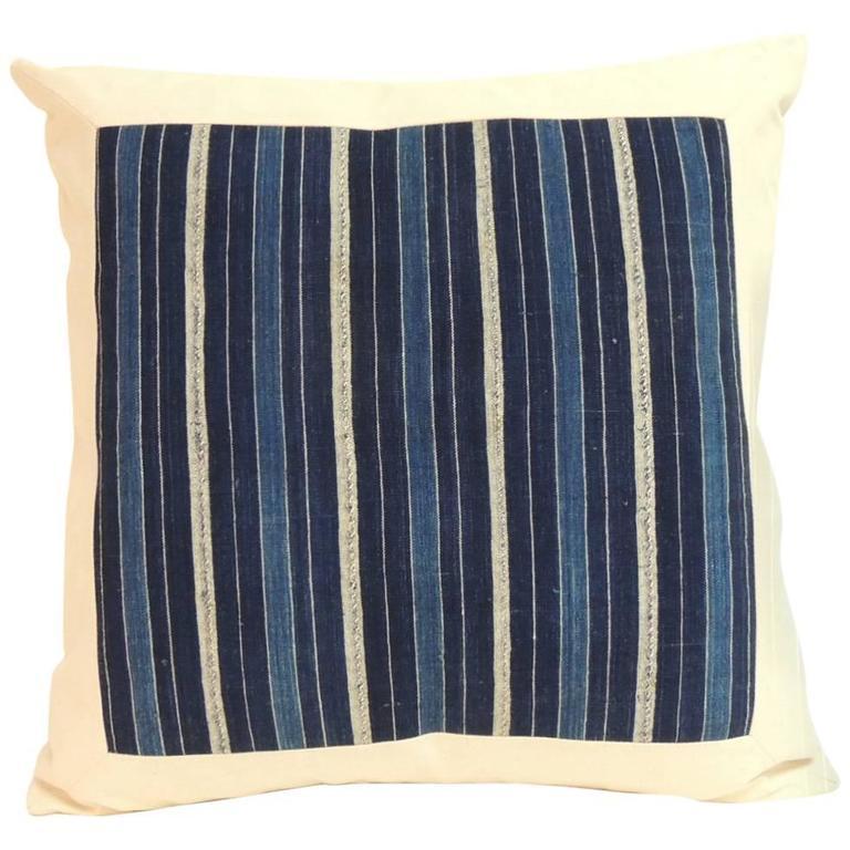 Vintage Indigo and Natural Stripe African Warp Ikat Decorative Pillow