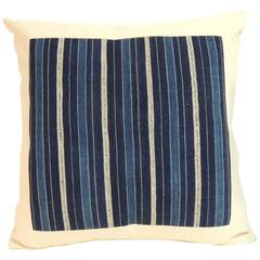 Vintage Indigo and Natural Stripe African Warp Ikat Decorative Pillow