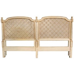 Louis XVI Style King-Size Headboard with Caned Inserts by Louis Solomon , 1970's