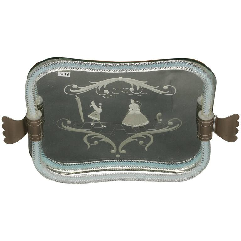 1930s Venetian Mirrored Glass Tray with Silver Plate Handles