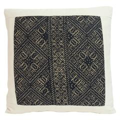19th Century Black and Natural Fez Embroidery Textile Decorative Pillow