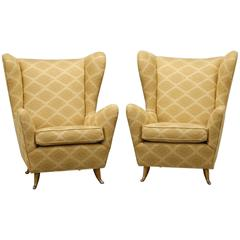 Pair of Mid-Century Italian Wing Back Chairs in Manner of Paolo Buffa