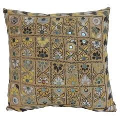 Large Yellow Indian Chakla Embroidery Decorative Pillow