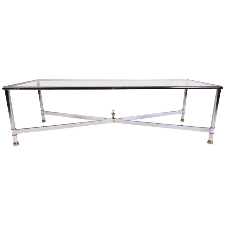 Mid-Century Modern Chrome and Brass Coffee Table