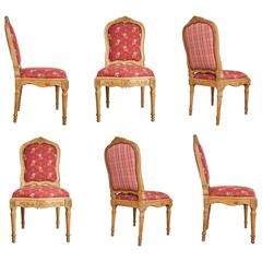 Set of Six French Louis XIV Style Neoclassical Side or Dining Chairs