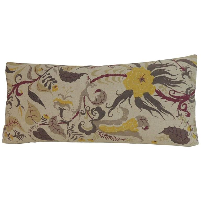 Vintage French Printed Linen Floral Long Decorative Bolster Pillow at 1stdibs