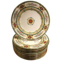 Set of 12 Hand-Painted English Dinner Service Plates by Minton