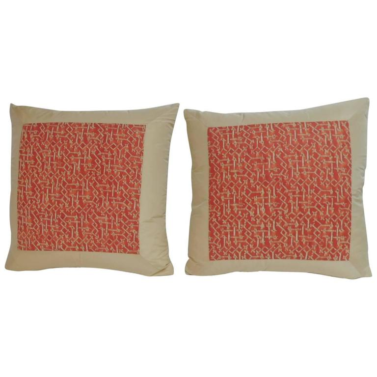 "Pair of Fortuny ""Rabat "" Printed Orange Decorative Pillows"