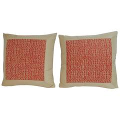"Pair of Fortuny ""Rabat "" Printed Orange Decorative Pillows"