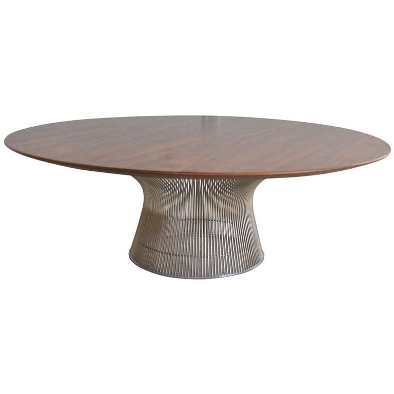 Round walnut coffee table by warren platner for knoll at for Warren platner coffee table