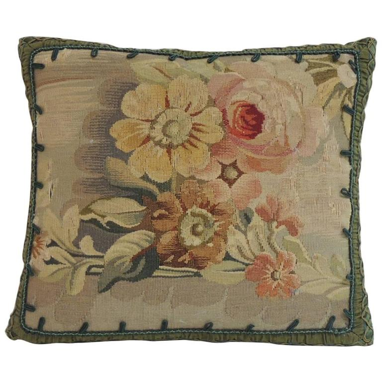 19th Century French Petite Aubusson Tapestry Decorative Pillow For Sale