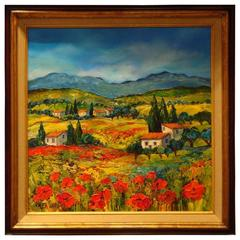 Rare Magnificent French Provence France Betty Wittwe Poppy Landscape Painting