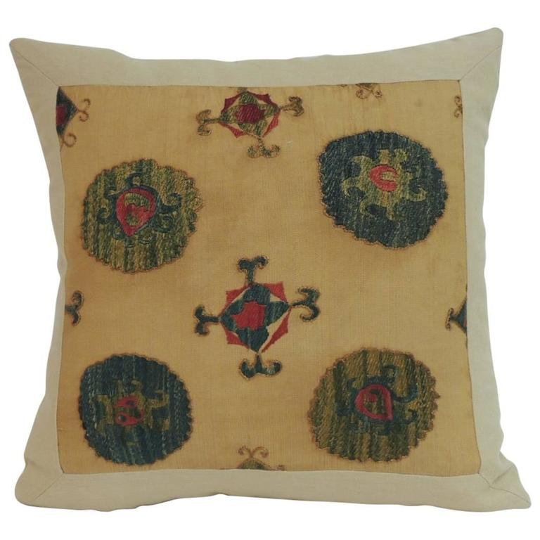 Vintage Decorative Pillow : Antique Embroidery Suzani Tribal Boho-Chic Decorative Pillow For Sale at 1stdibs