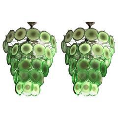 Pair of Art Deco Style Circular Murano Glass Sphere Chandeliers