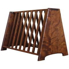 Handcrafted Shedua Wood Magazine Rack by John Nyquist
