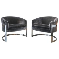 Milo Baughman Chrome Cantilevered Club Chairs in Charcoal Mohair