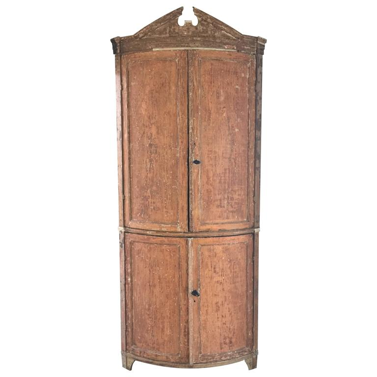 Swedish Bow Front Corner Cabinet, 1750 For Sale