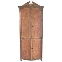 Swedish Bow Front Corner Cabinet, 1750