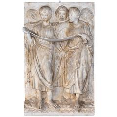 Large Antique Italian Plaster Bas Relief of Singing Roman Boys Choir