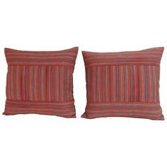 Pair of 19th Century Stripe Turkish Woven Decorative Pillows