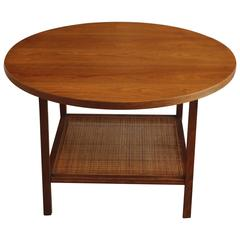 Round Walnut and Cane Side Table by Paul McCobb
