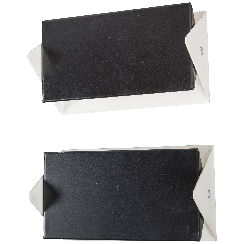 1950s J.J.M. Hoogervorst Black and White Wall Lights for Anvia