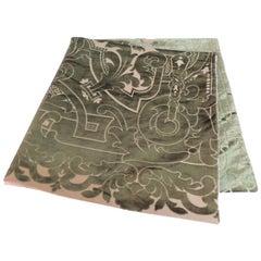19th century silk velvet Gaufrage green throw
